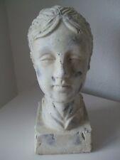 Frauen Büste Kopf mit Haube antik finished creme XL