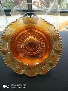 Fenton Vintage Carnival Glass Bowl Marigold,Gold,Peach,Yellow Iridescent Hues.