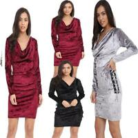 Womens Cocktail Velvet Side Lace Party Sexy Long Sleeve Dress Plus Size 10-16