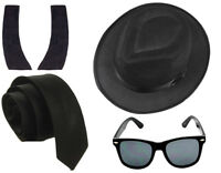 BLUES BROTHERS 1980'S FANCY DRESS PARTY SET COSTUME HAT TIE GLASSES SIDEBURNS