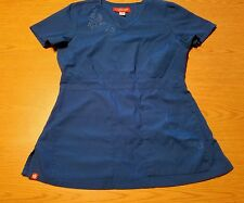 Orange Standard scrub top SZ XS,elestic waist back with 3 front pockets,EUC