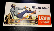 Levi's Overall Denim Blue Jeans Western Horse Advertising Sign 7x15