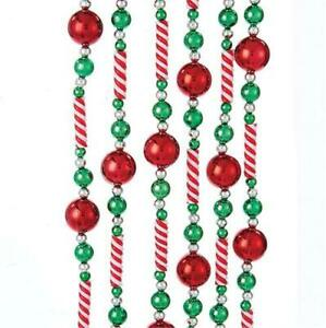 8 Ft Red Balls and Stripe Candy  Bead Christmas Garland Set of 2