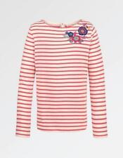 Fat Face Long Sleeved Embroidered Breton T-Shirt -Rosebud - Age UK 6-7 - RRP £14