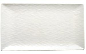 H & H Wavy Teller rechteckig Stone Ware Weiß Essen Servieren