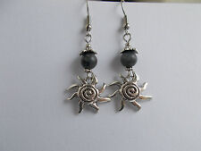 Spiral Sun & Larvikite Norwegian Moonstone Earrings Pagan