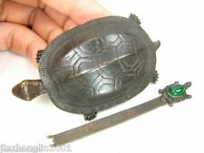 VINTAGE CHINESE BRONZE LOCK TURTLE SHAPE WITH KEY IN GOOD WORKING CONDITION
