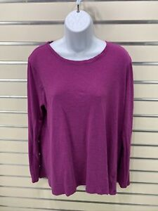 ATHLETA Women's Size L Magenta Purple Heather Long Sleeve Top Pleat At Back