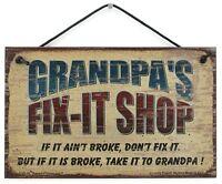 5x8 Grandpa's Fix-It Shop Sign Wood Worker Mechanic Tool Take to Garage Workshop