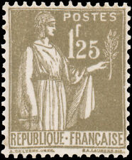 France 1932 1.25fr BROWN OLIVE LIGHTLY HINGED #279 CV$75.00 Maury #287 @