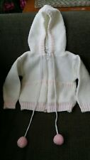 VNTG BABY 3-6 Month White/Pink Knit ALL MINE Zip Front Acrylic SWEATER w/Hood