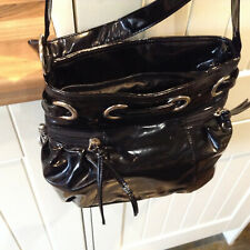 NEW BLACK FAUX PATENT  LEATHER CROSS BODY BAG