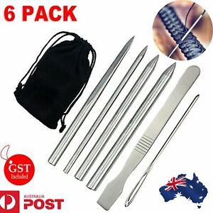 6 pcs Stainless Steel Paracord Bracelet Fid Lacing Stitching Needles Tool Set AU