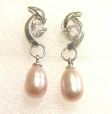 Pearl Silver Plated Oval Costume Earrings