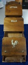 Wood Rooster Letter Holder 3 Slots and 3 Key Hooks Vintage Retro Gift Idea Free