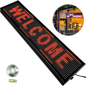 """VEVOR 40""""x8"""" LED Scrolling Sign P10 Programmable Red Message Board Advertising"""