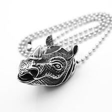 Silber Halskette für Männer Edelstahl Anhänger Nashorn Kopf Punk Schmuck