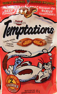 WHISKAS TEMPTATIONS TREATS FOR CATS - HEARTY BEEF - LOW CALORIE TREATS - 85 g