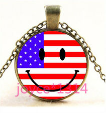 Smiley Face and Flag Cabochon bronze Glass Chain Pendant Necklace TS-5686