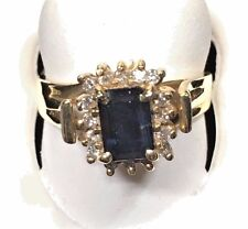 LADIES FINE SAPPHIRE AND DIAMOND RING ,SET IN 18KT YELLOW GOLD MOUNTING