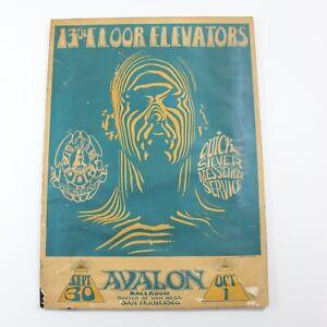 Vintage 1960s 13th Floor Elevators Avalon Ballroom Family Dog Poster
