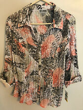 JM Collection Crinkled Sequined Blouse Diamond Coral Shell L  __________ M7C4