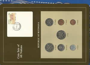 Coin Sets of All Nations Botswana w/card 1981 & 1984 UNC Caracal -1IX88