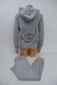 Juicy Couture Womens Y2k Velour Tracksuit Set Size Joggers XS Hoodie L Grey