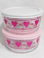 PYREX 4 Cup VALENTINE HEARTS STORAGE BOWL Love Hugs *Choose WHITE or PINK COVER
