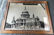 Vintage Wooden Framed Picture On Mirror Displaying St Pauls Cathedral in London