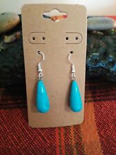 Earrings, Turquoise Color Howlite Earwires Sterling Sliver Natural Stone