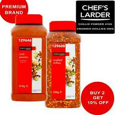 CHILLI POWDER AND CRUSHED CHILLIES HOT SPICES SEASONING BULK PACKS CHEF'S LARDER