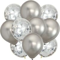 "12Pack Confetti Chrome Balloon Latex 12""Decoration Helium Birthday Party Wedding"