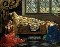"""perfact 36x24 oil painting handpainted on canvas""""Sleeping Beauty""""@1723"""