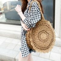 Lady Straw Tote Bags Round Handbag Crochet Wicker Rattan Boho Woven Beach Summer