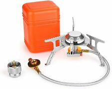 3700W Portable Backpacking Camping Gas Stove with Piezo Ignition, Burner, Case