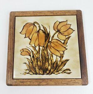 """Vintage Floral Tile Wood Trivet 9.5"""" × 9.5"""" Mid Century Modern Kitchen Retro"""