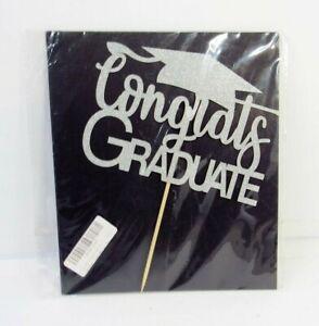 Congrats Grad Graduation Cake Topper Glitter Silver Party Decoration