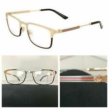 NEW AUTHENTIC GUCCI GG0135O 003 52-19-140 GOLD HAVANA EYEGLASSES FRAMES
