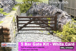5 BAR GATE - WHITE CARD KIT - 4 PACK  - OO/HO 1:76 1:72 MODEL RAILWAY SCENERY