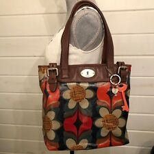 FOSSIL KEY-PER Coated Canvas Tote Bag with Brown Leather Trim Multi-color Floral