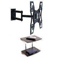 "Swivel Tilt TV Wall Bracket 22 - 50"" with Double Glass DVD AV Shelf VESA 400x400"