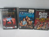Lot of 3 PlayStation 2 Games PS2 Star Wars Episode III Friends Guitar Hero T