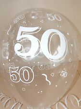 Clear Printed ☆ 50th BIRTHDAY BALLOONS ☆ Party Decorations x 10 pk  Air / Helium