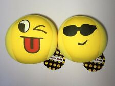 Set of Two Cute Soft Cloth Emoji Colorful Squeeze Toy Balls