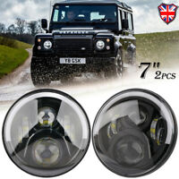 "2x 7"" Hi/Lo Beam Angel Eye LED Headlight For Land Rover Defender RHD 90 110"