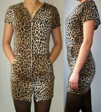 Leopard Animal Print Zip Up Hooded Hoddy Jumper Body Con Slouch dress 8 10 12
