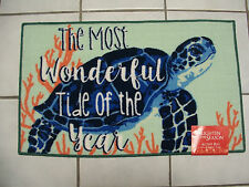 Tropical XMas Most Wonderful Tide Sea Turtle Latex Back Pool Door Rug Floor Mat