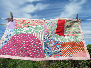 "VTG doll quilt crib 1940s 50s patchwork MCM 12"" x 24"" paisley floral feedsack oo"