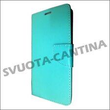 Custodia Flip Cover Calamita Eco Pelle liscia per Huawei Ascend P9 Azzurro